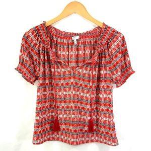 JOIE Short Sleeve Popover Silk Top Blouse XS D26